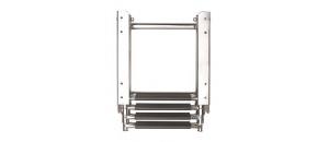 Telescopische cassette ladder 4  treden voor dekmontage. Roestvast staal.